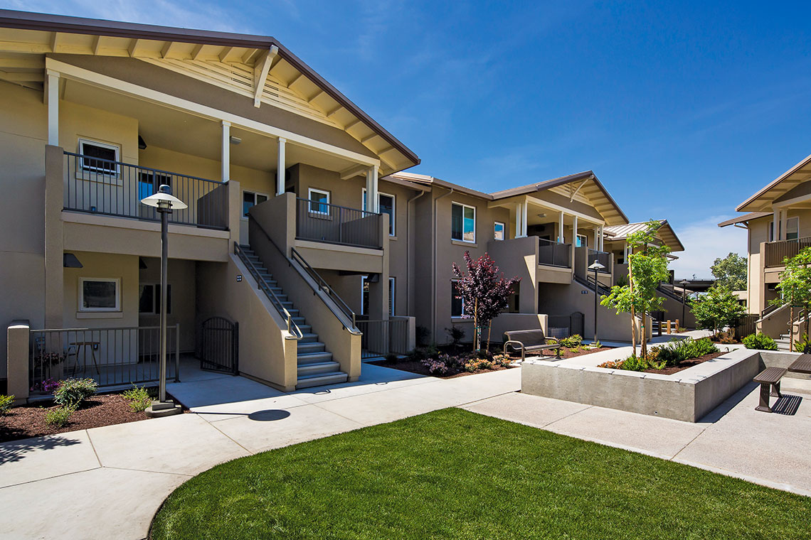 Exterior of Archway Commons Affordable Housing Community in Modesto CA