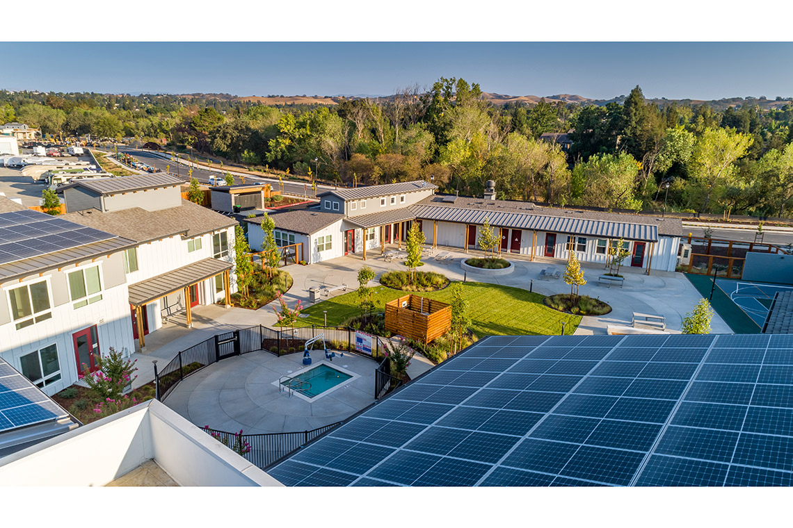 Aerial image of Sunflower Hill at Irby Ranch in Pleasanton, CA showing solar panels